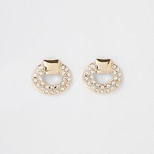 Gold colour diamante door knocker earrings