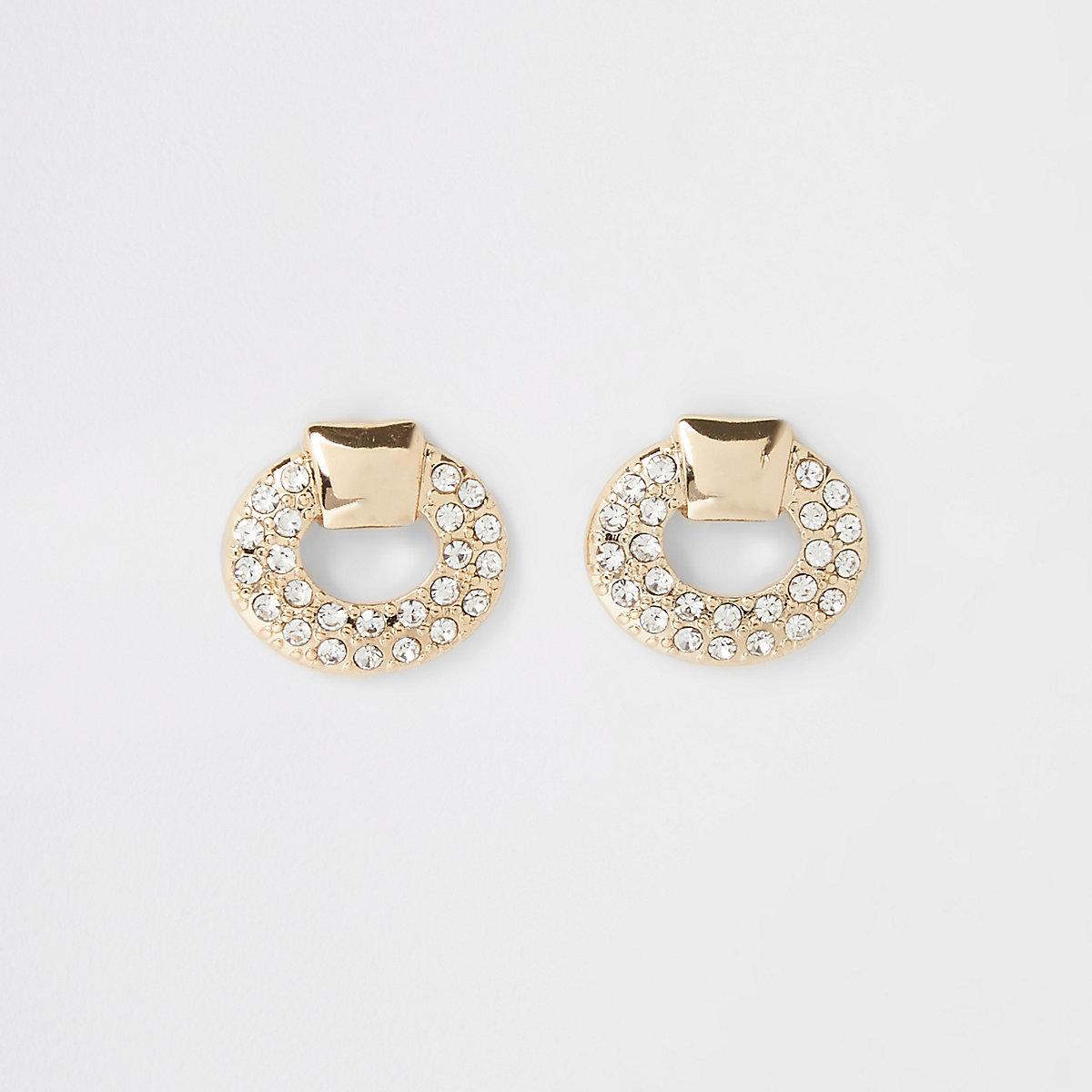Gold tone diamante door knocker stud earrings