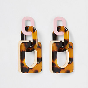 Brown tortoise shell rectangle drop earrings
