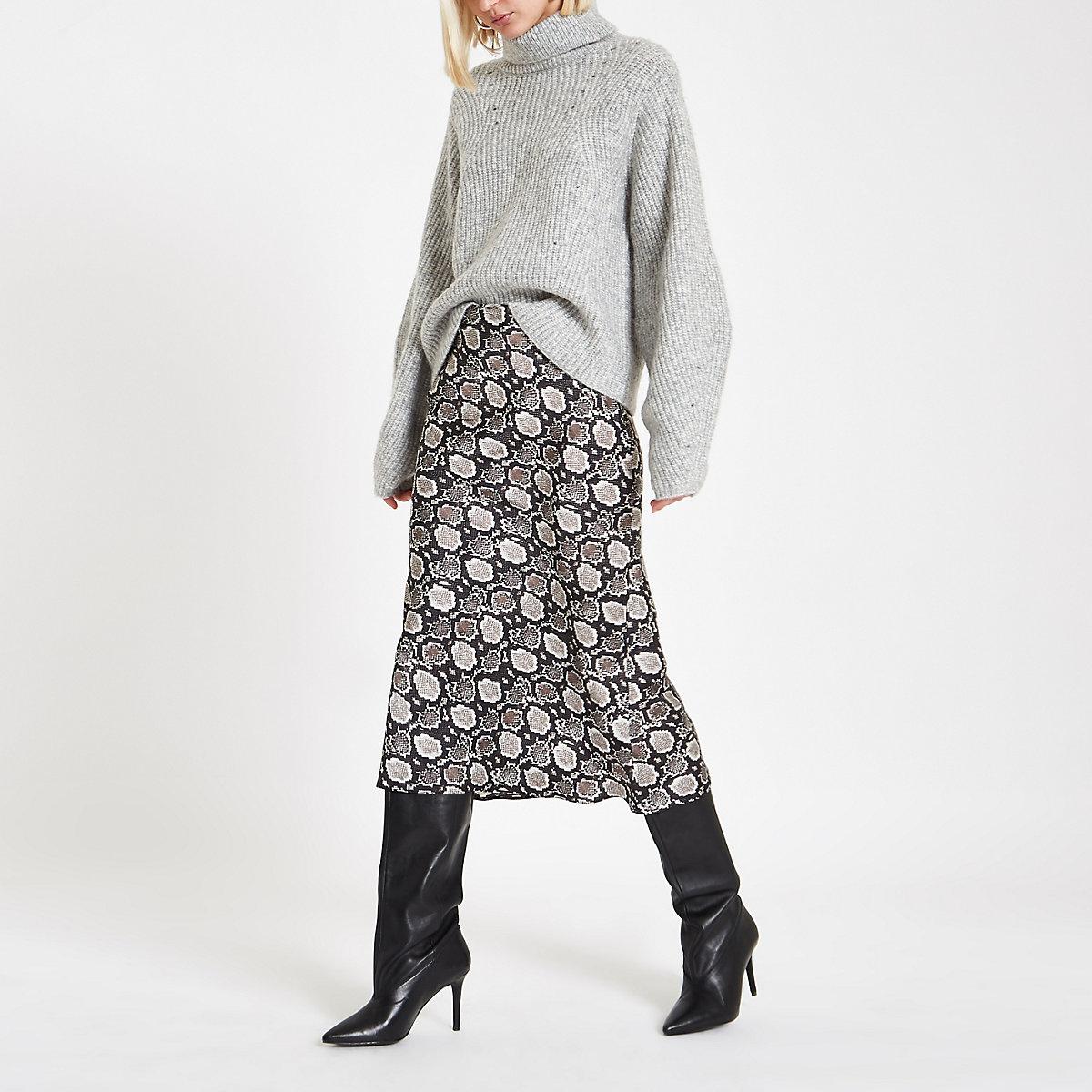 Black snake print satin bias midi skirt