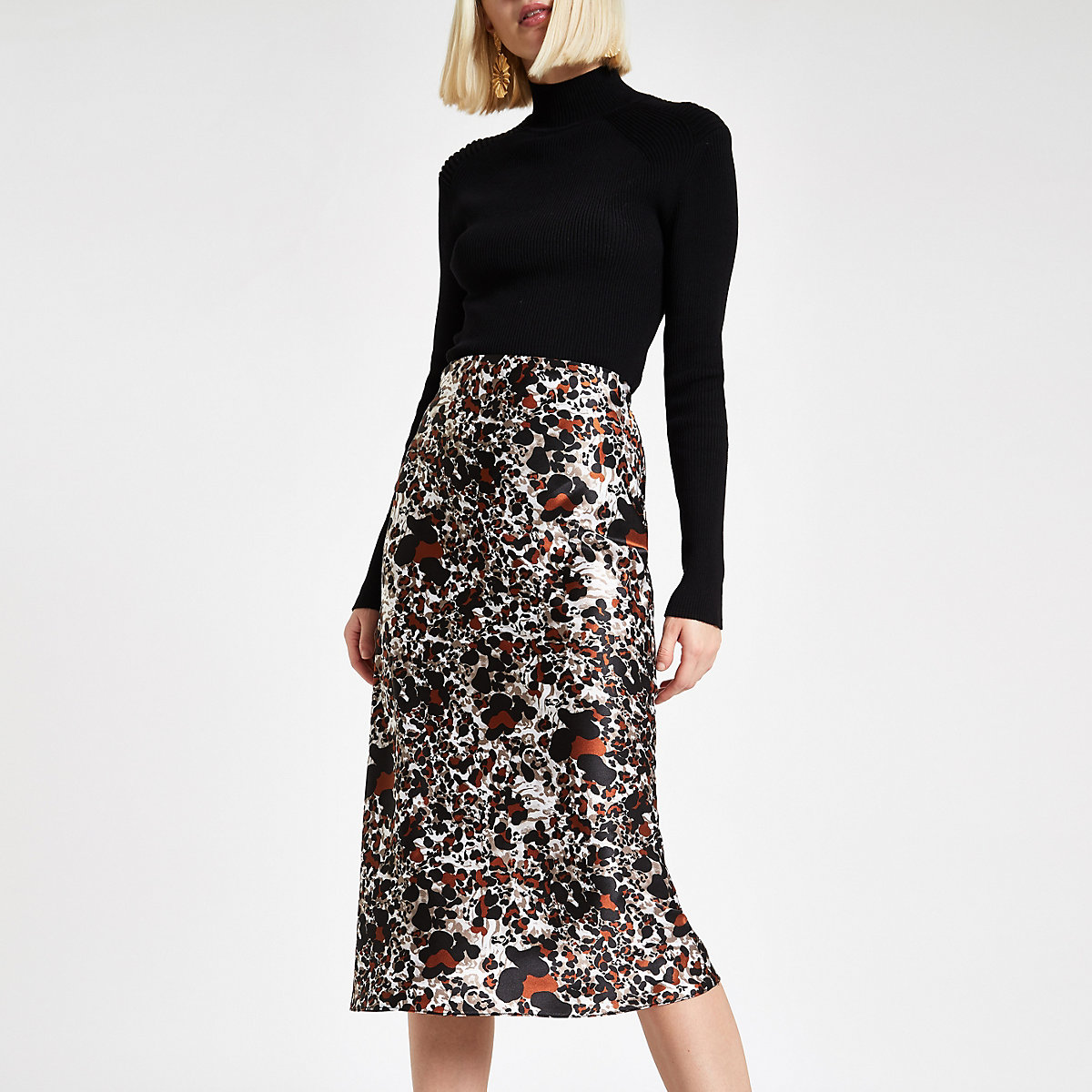 Rust leopard print  bias cut midi skirt