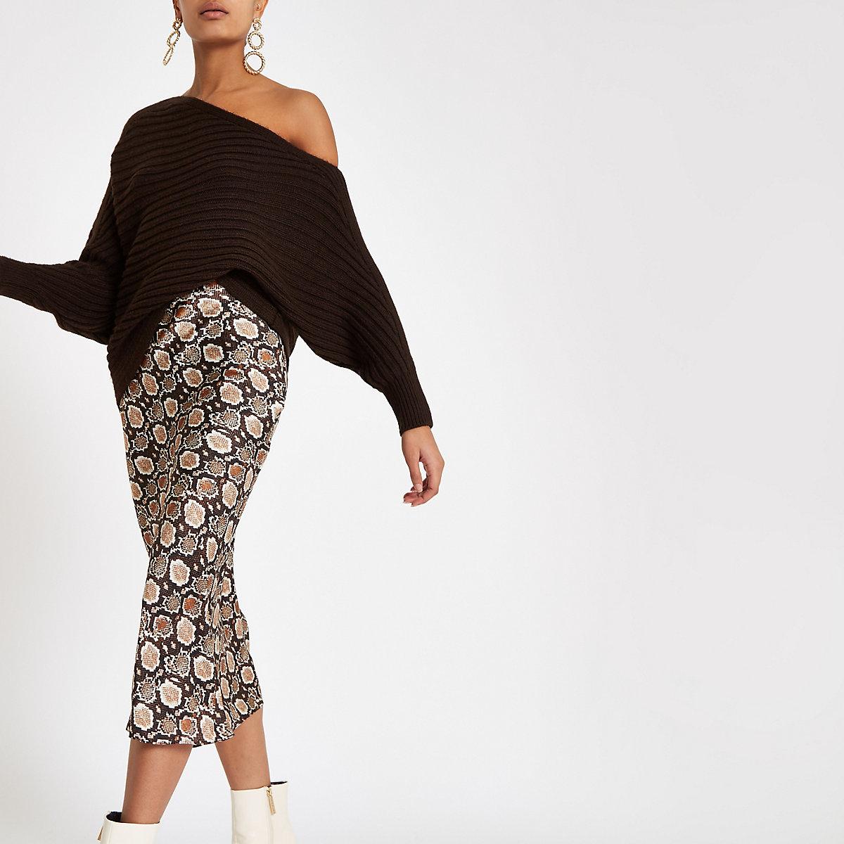 Brown snake print satin bias midi skirt