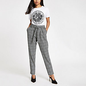 Petite grey check jersey tapered pants