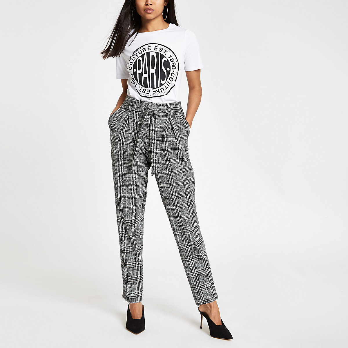Petite grey check jersey tapered trousers