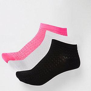 Lot de 3 paires de chaussettes de sport rose vif