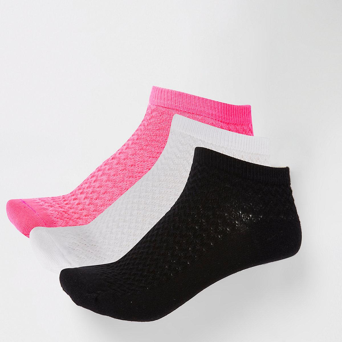 Bright pink trainer socks 3 pack