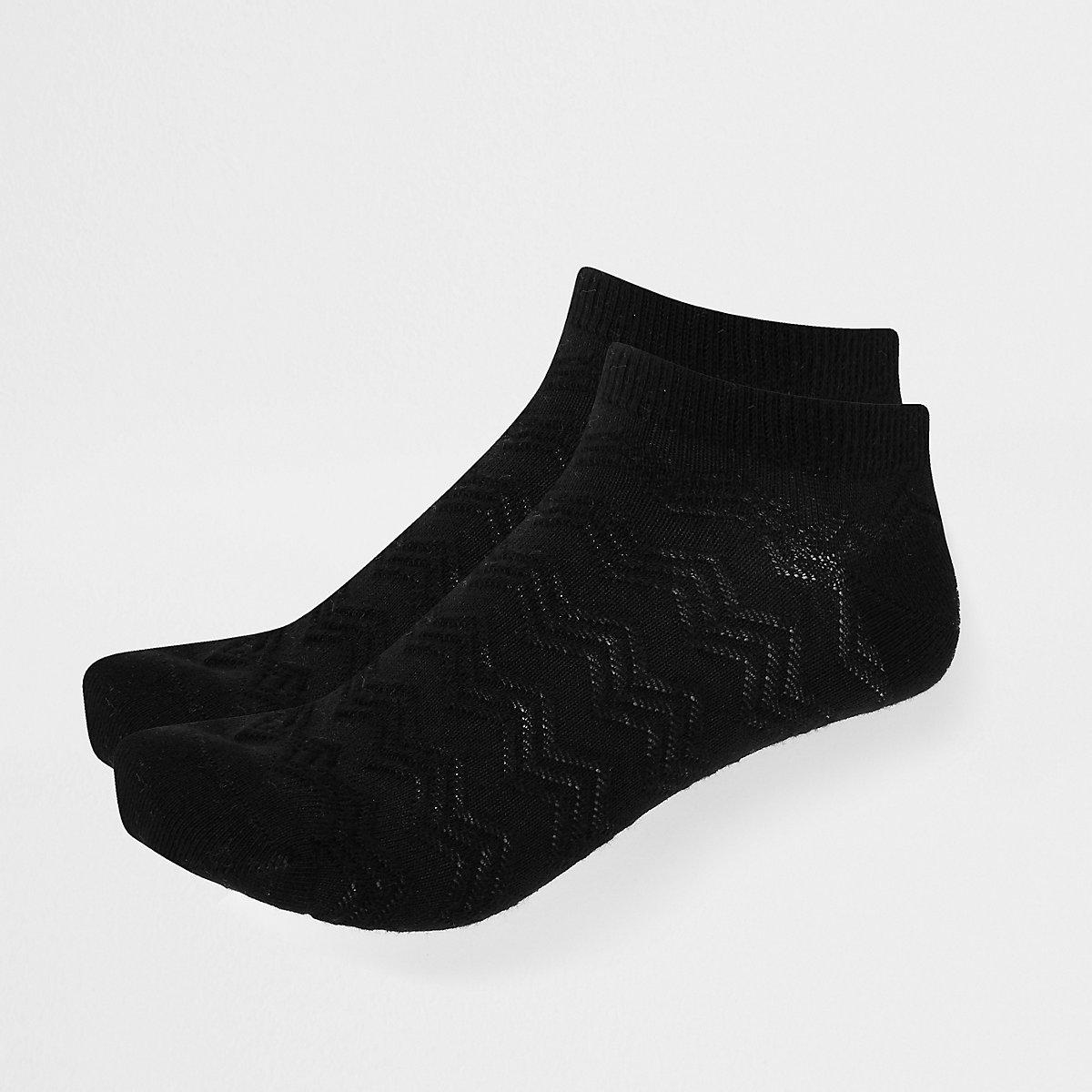 Black zig zag trainer socks 2 pack