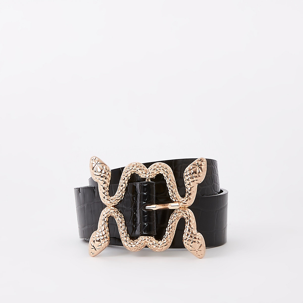 Black croc gold tone snake buckle jeans belt