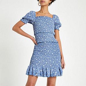 Blue spot shirred mini skirt