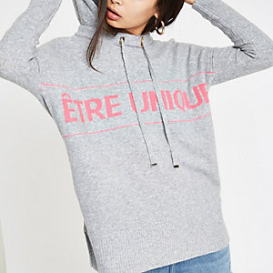 Sweat à capuche en maille gris avec inscription « Etre unique »