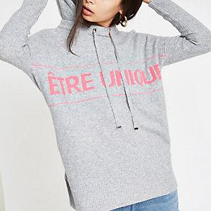 Grijze gebreide hoodie met 'Etre unique'-print