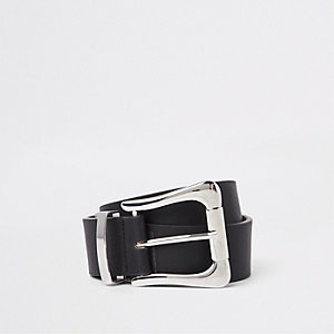 Black oversized silver buckle jeans belt