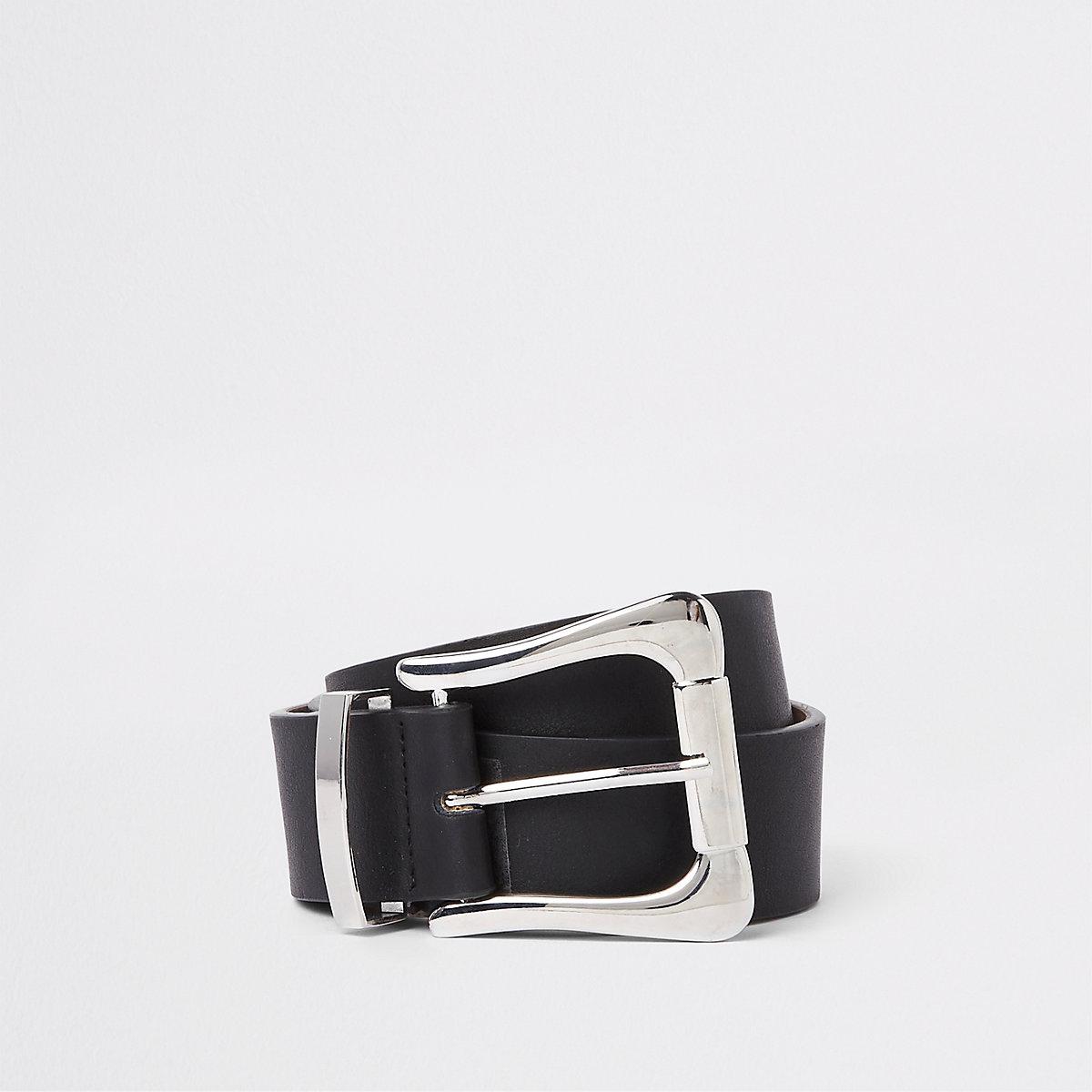 Black oversized silver buckle jeans belt