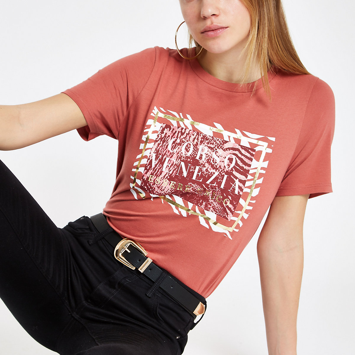 Red 'Corso Venezia' print T-shirt