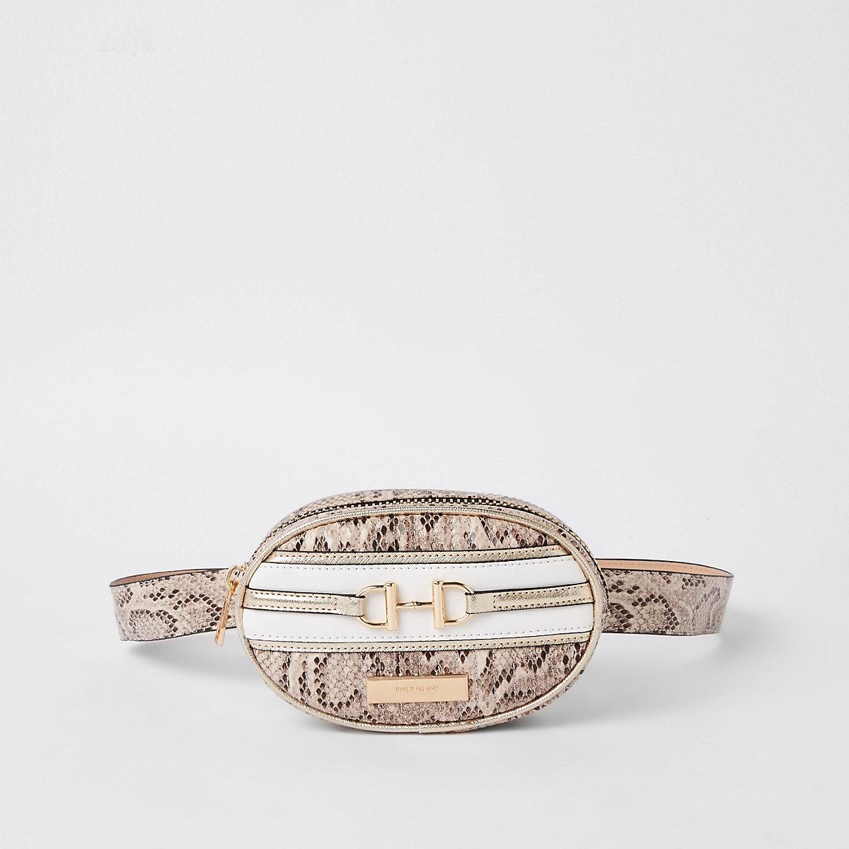 Light beige snake print belt bum bag