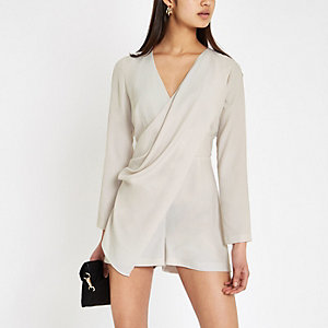 Grey wrap front long sleeve romper