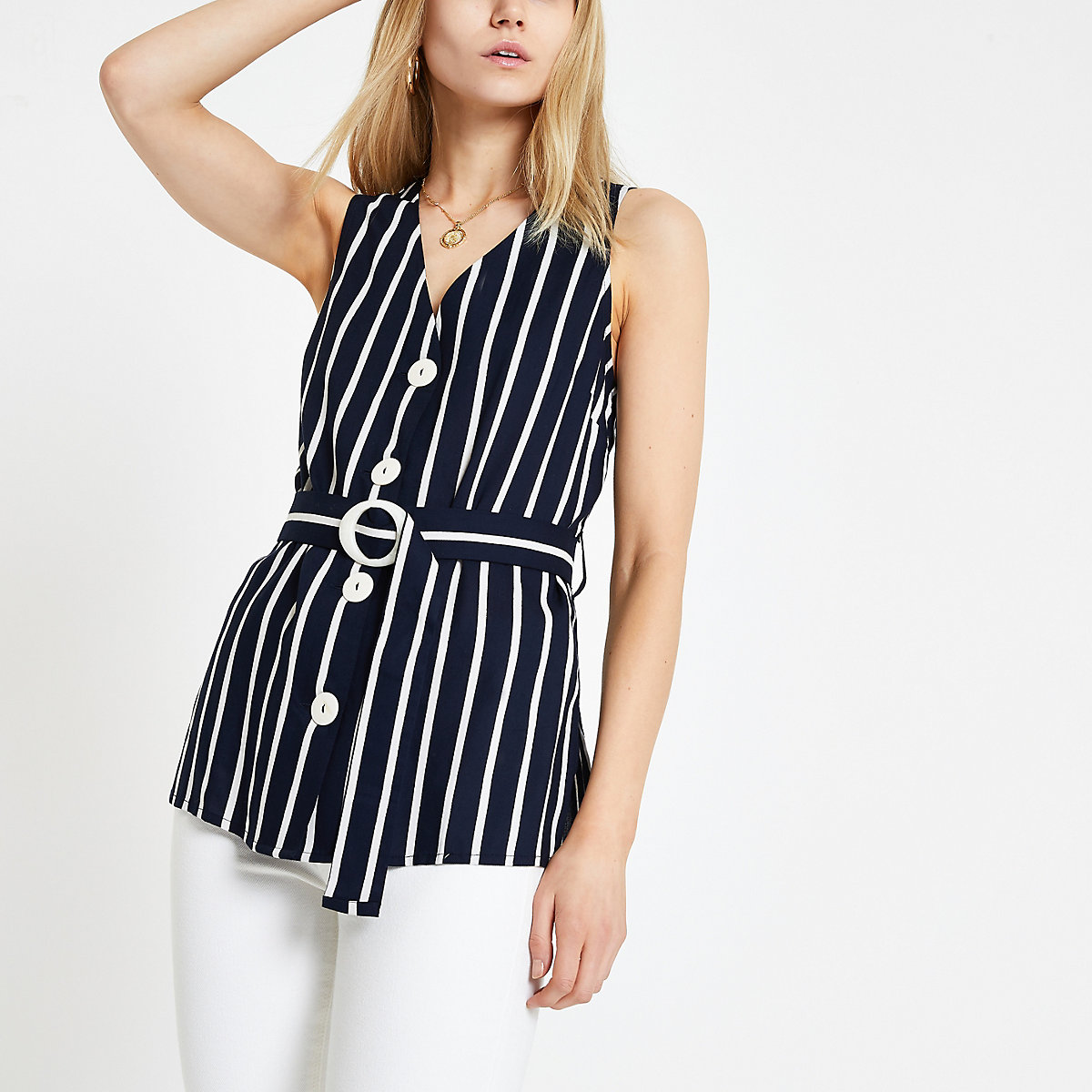 Navy stripe belted waist top