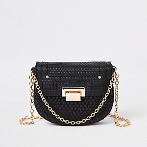 Black weave chain cross body bag 129060745fa6a