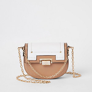 Orange saddle lock front chain cross body bag
