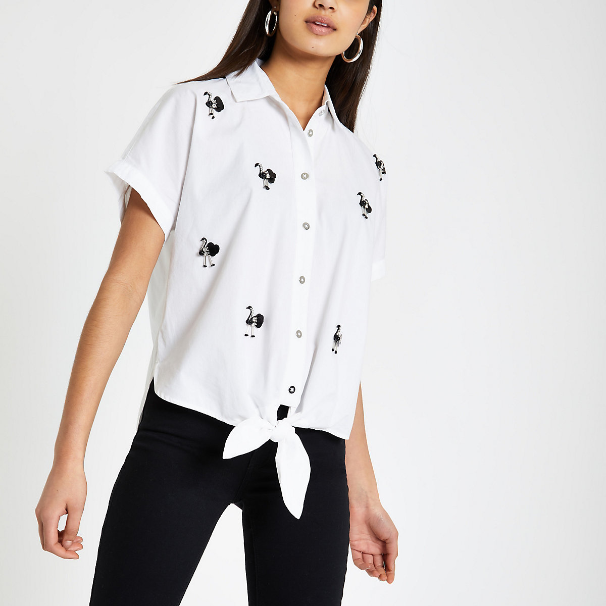 White flamingo embellished tie front shirt