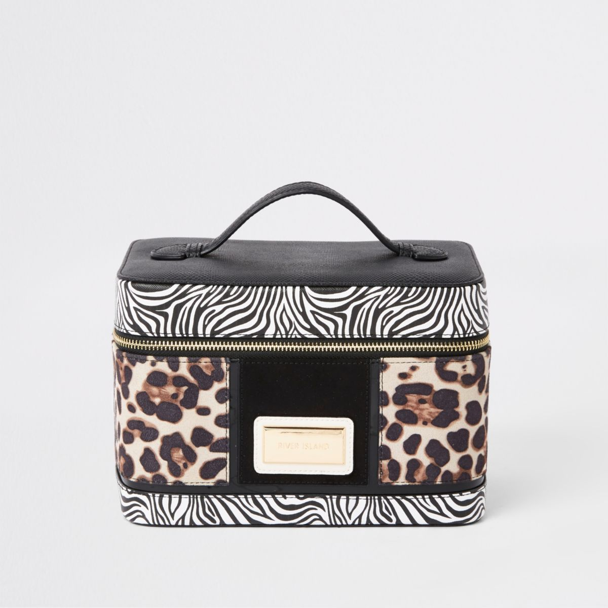 Black animal print vanity case