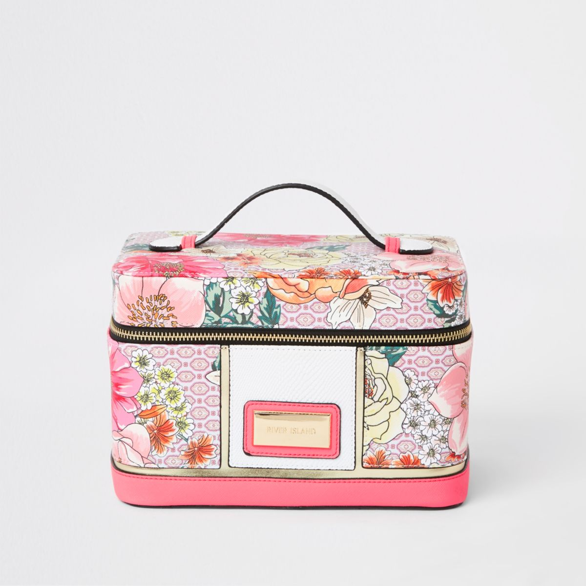 Light pink floral vanity case