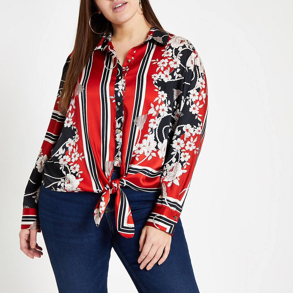 Plus red print tie front shirt