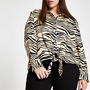 Plus black zebra print tie front shirt