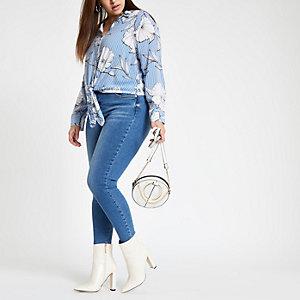 Plus – Chemise à fleurs et rayures bleue, nouée sur le devant