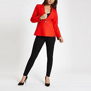 Petite red long sleeve blazer