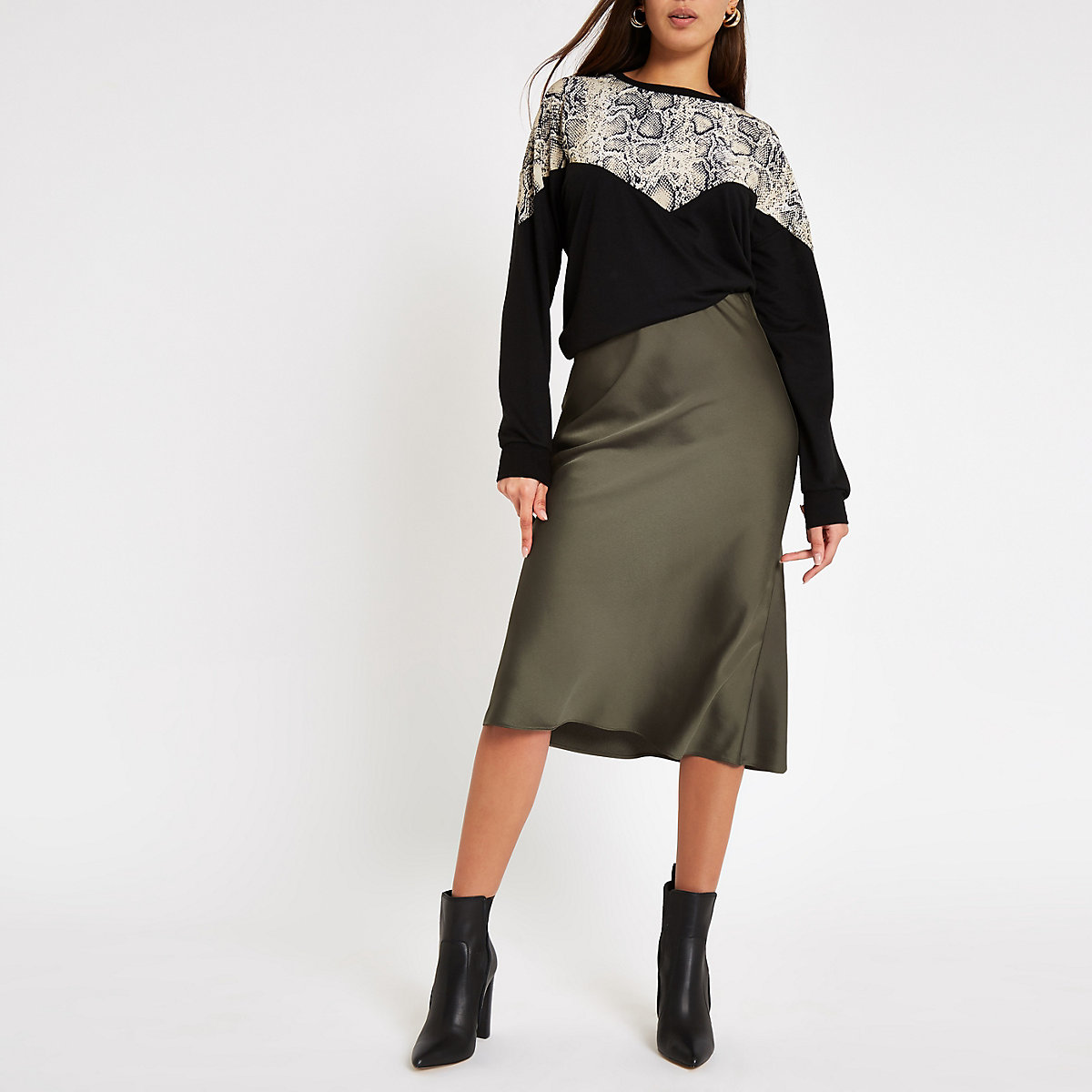 Khaki satin midi skirt