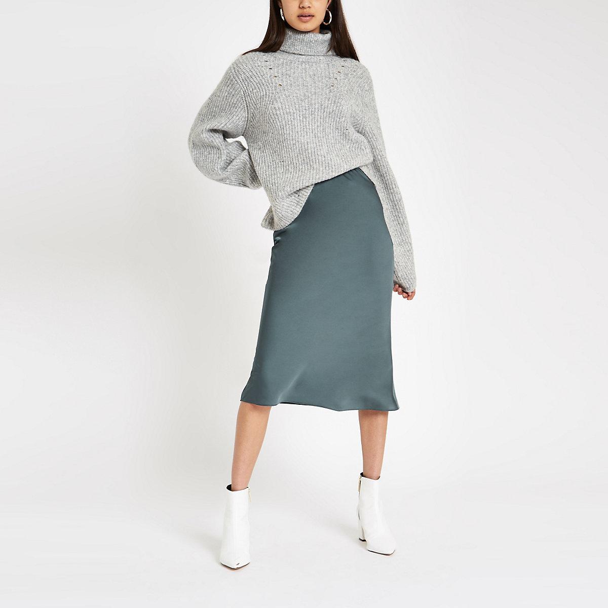 Dark blue bias cut midi skirt