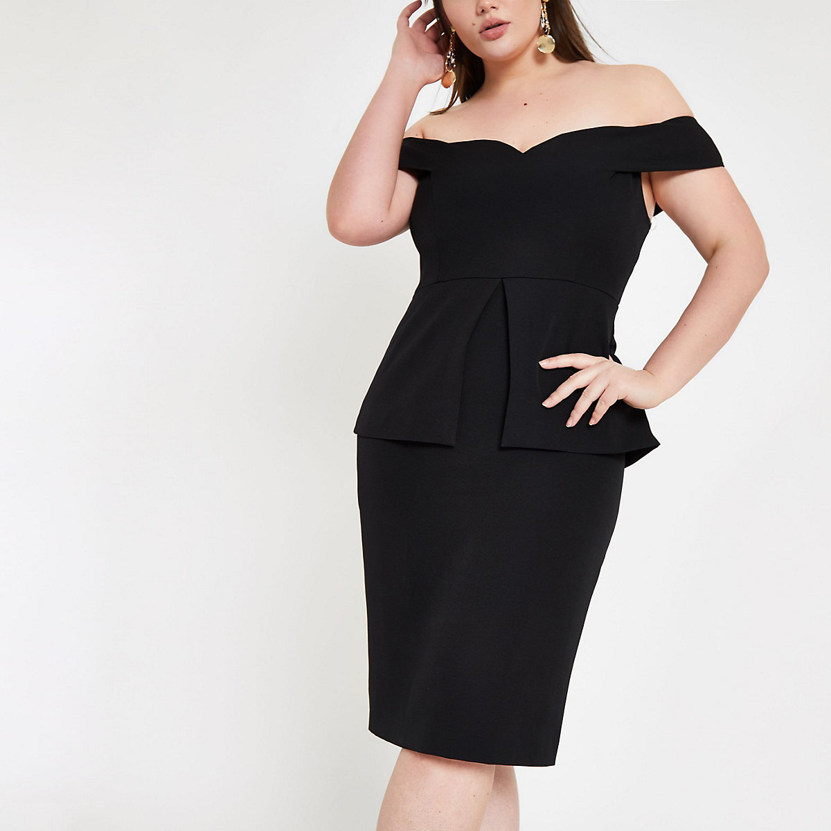 Plus black bardot structured midi dress
