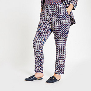 Plus blue geo print trousers