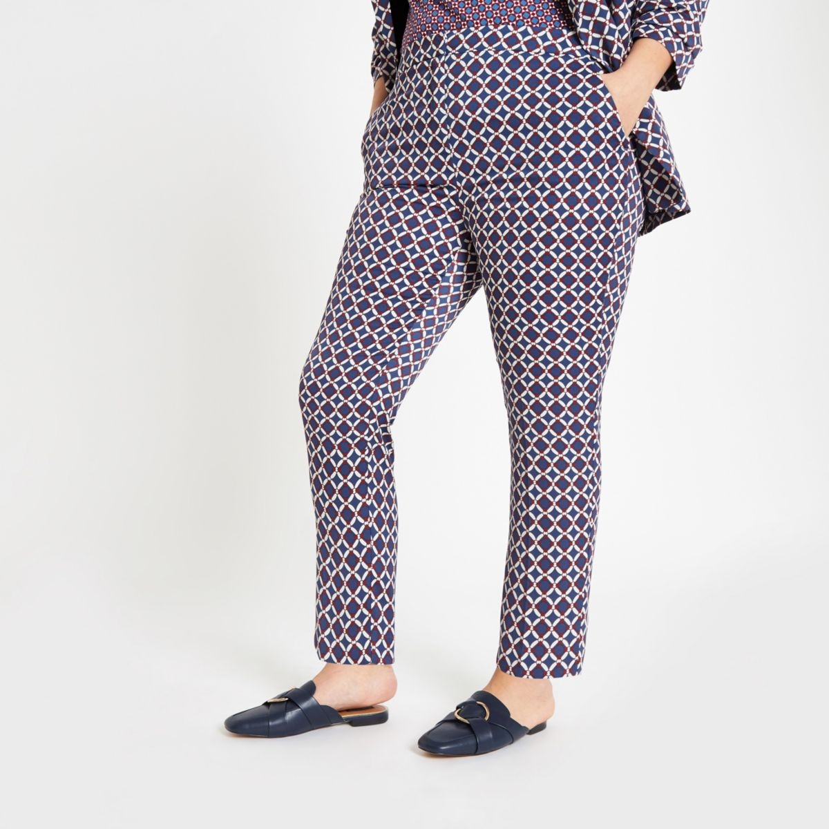 Plus blue geo print pants