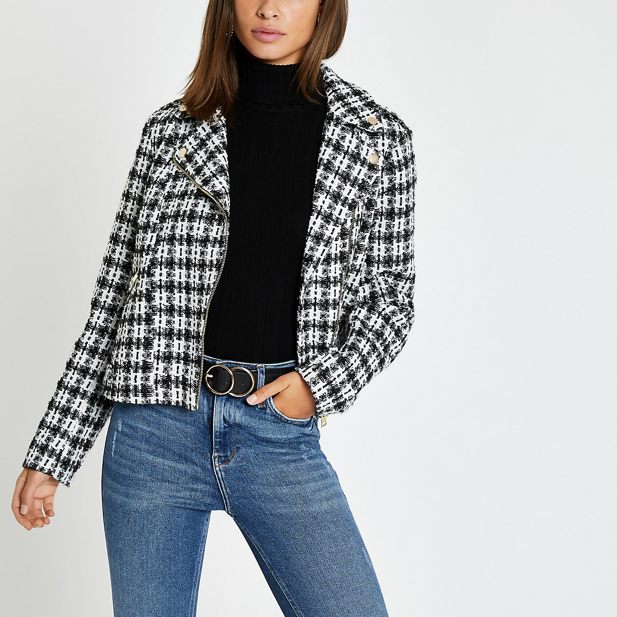 Black check boucle biker jacket