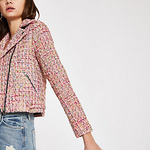 Pink check boucle biker jacket