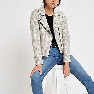 Cream check boucle biker jacket