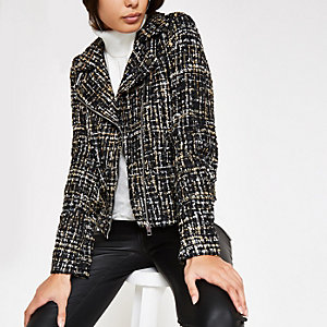 Black check print biker jacket