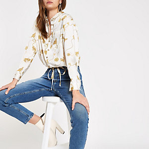 Cream chain print elastic tie front blouse