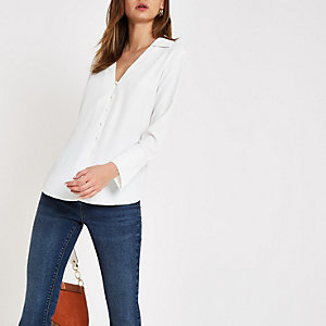 White v neck button through shirt