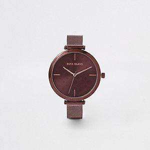 Bruin horloge met bandje van mesh
