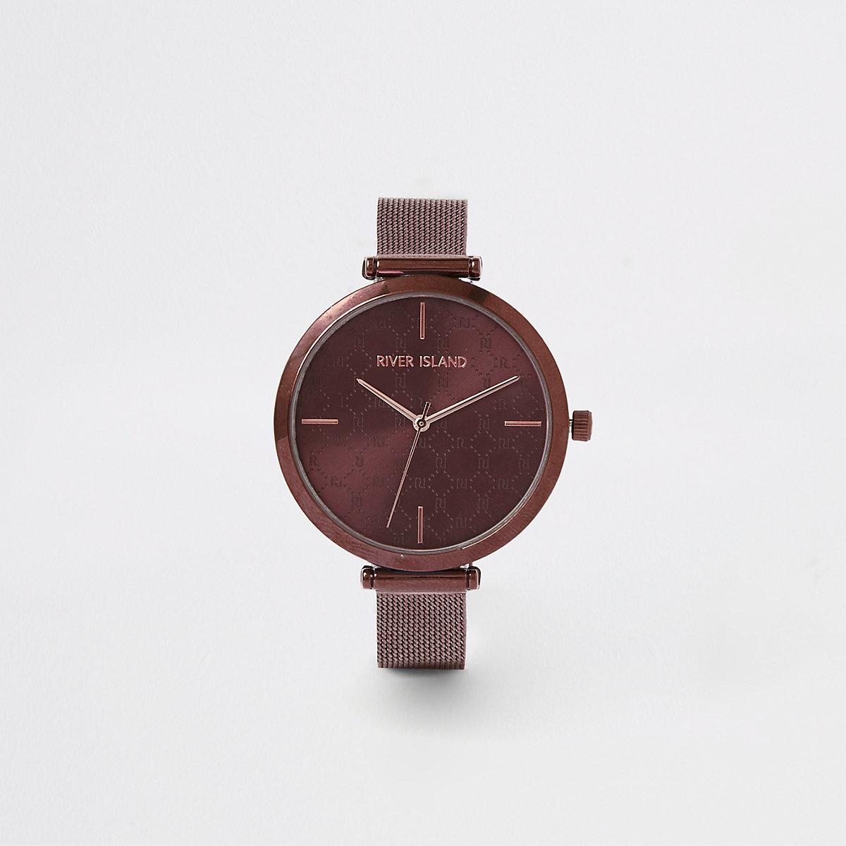 Brown mesh strap watch