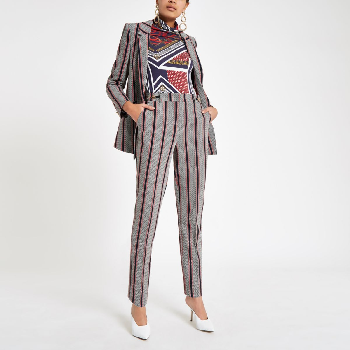 Black stripe snaffle cigarette trousers