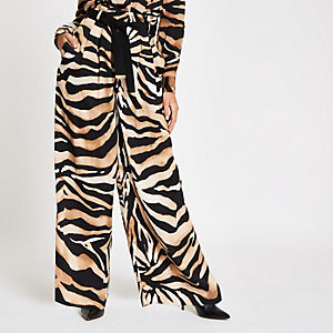 Brown wide leg tiger print pants