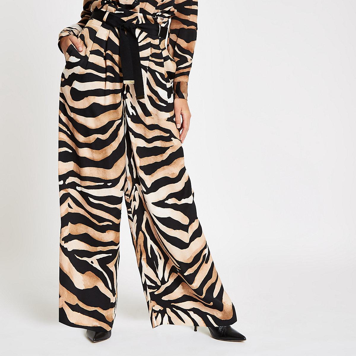 Brown wide leg tiger print trousers