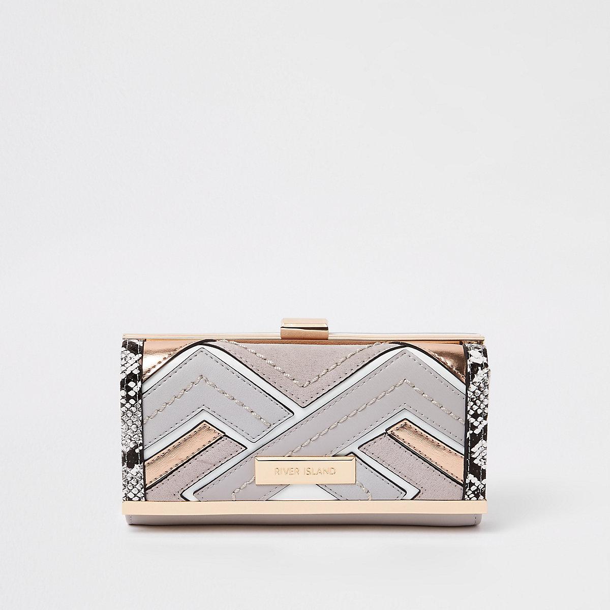Grey cutabout clip top purse