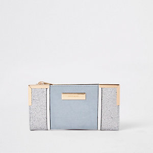Light blue glitter fold out purse