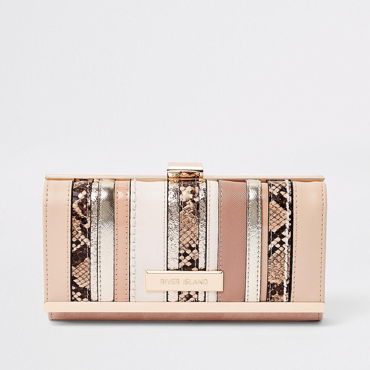 Beige metallic cutabout clip top purse