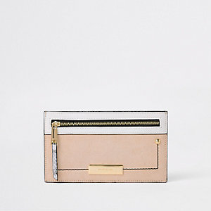 Beige metallic slim purse
